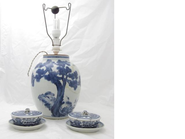 A large blue and white baluster vase 18th/19th century