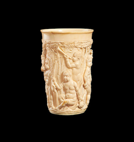 A 19th century German carved ivory beaker