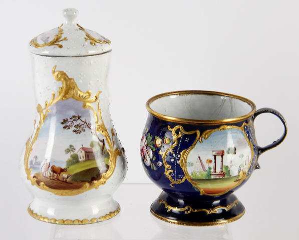 Two South Staffordshire enamel mustard pots and covers, circa 1770