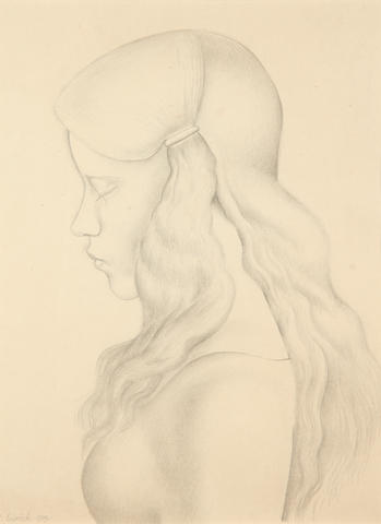 Richard Eurich A.R.A. (British, 1903-1992) Head of a girl in profile