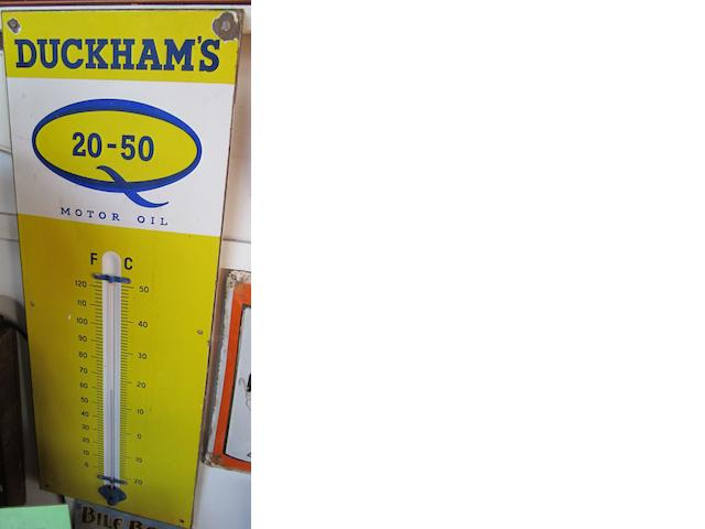 Two Duckhams Oil advertising thermometers,