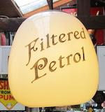 A set of four garage forecourt advertising lampshades,