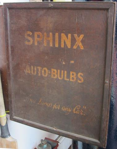 A Sphinx Auto Bulbs display cabinet,