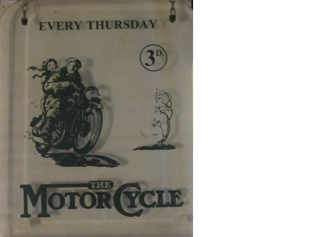 A painted glass hanging advertising sign for 'The Motor Cycle' magazine,