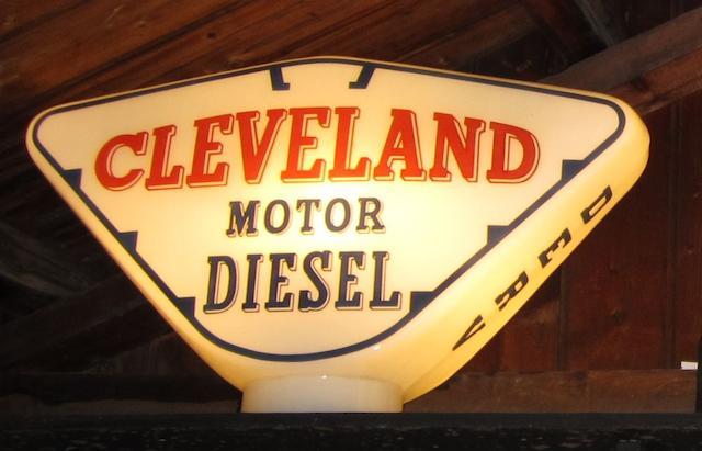A Cleveland Motor Diesel petrol pump globe,
