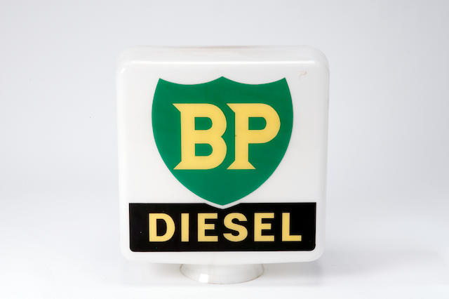 A BP Diesel glass petrol pump globe,