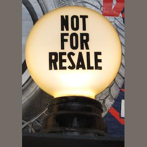 A 'Not for Resale' petrol pump globe,