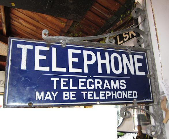 A Telephone enamel sign,