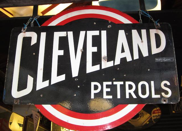 "A ""Cleveland Petrols"" shaped enamel sign,"