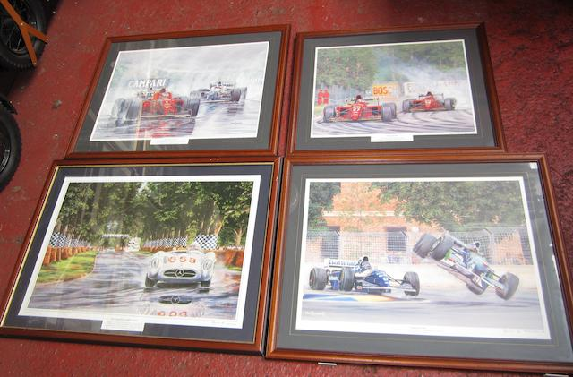 Four John Saunders limited edition motorsport prints,