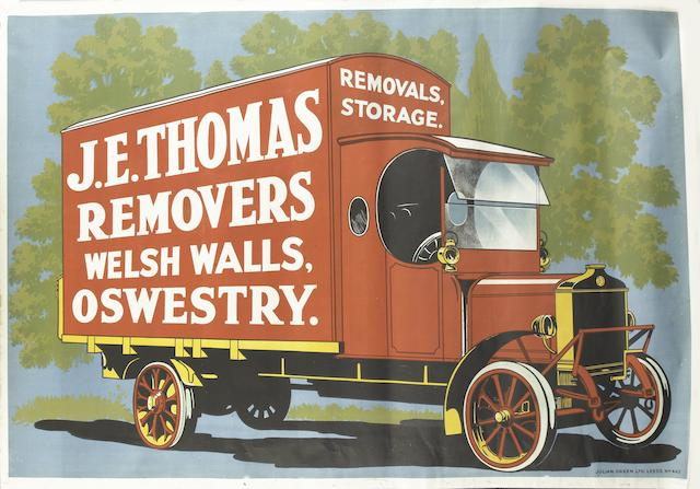 A J.E. Thomas Removers advertising poster,