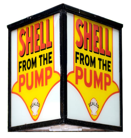 "A ""Shell From The Pump"" wall mounted illuminated sign,"