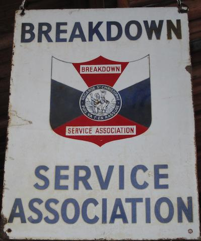 A Breakdown Service Association enamel sign,