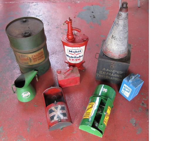 Assorted tins and dispensers,