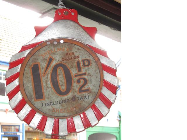 A Shell petrol pump price flag,