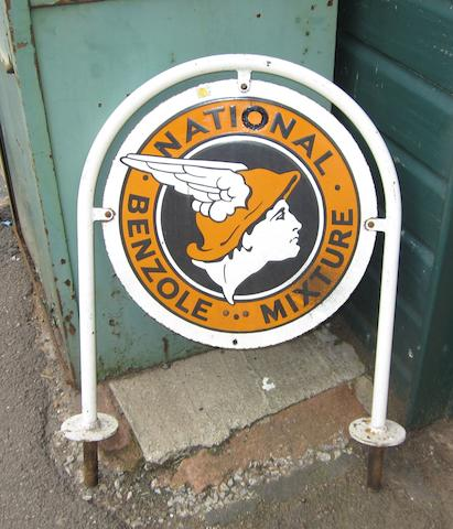 A National Benzole Mixture enamel advertising sign,