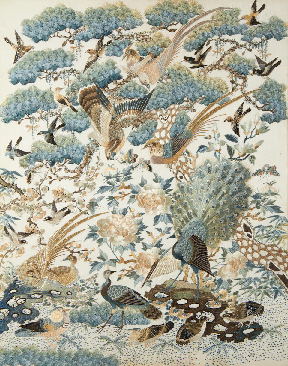 A pair of silk embroidered, 'One Hundred Birds' panels