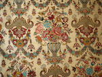 A silk Ghom carpet, Central Persia, 350cm x 240cm, signed