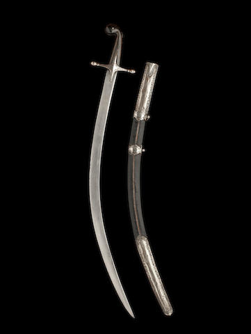 A Persian sword, scabbard and sleeve,signe on the blade, 94cm long.