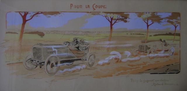 Print of vintage racing cars