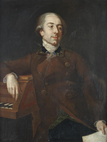 Neapolitan School, 18th Century Portrait of a man, half-length, in a red jacket and leaning on a piano