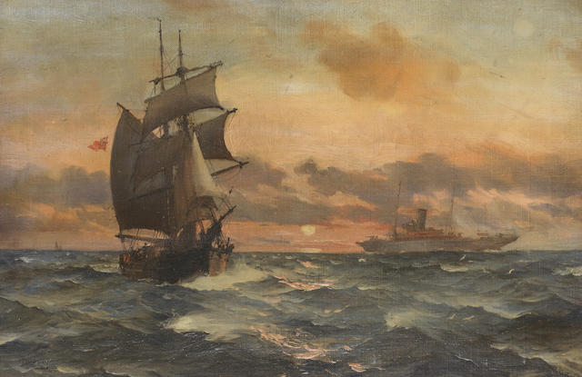 Montague Dawson (British, 1890-1973) An elegant steam yacht passing a hard-working old two-master in the setting sun