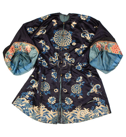 A dark blue-ground silk robe