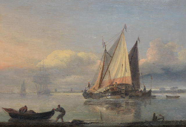 Thomas Luny (British, 1759-1837) Dutch pinks in an estuary