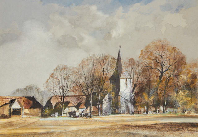 Rowland Hilder (British, 1905-1993) Kent landscape with church and barns