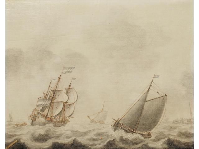 Cornelis Pietersz de Mooy (Dutch, 1630-1693) Vessels in a harbour entrance