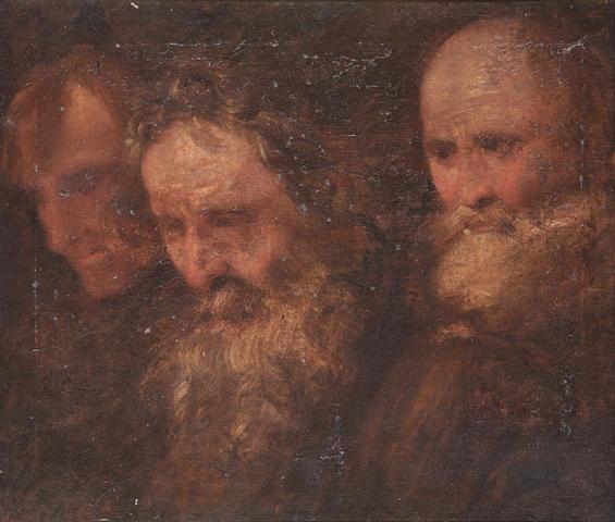 Flemish School, 17th Century Portrait of three men