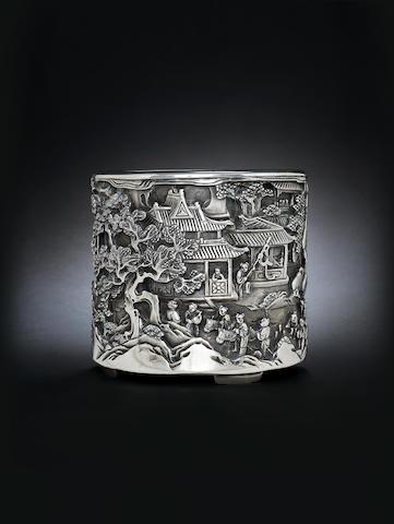 A rare silver cylindrical brushpot, bitong