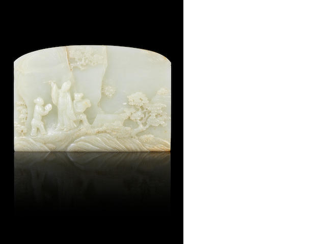 A rare pale green jade inscribed screen 18th century