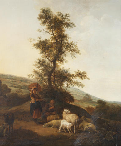 Attributed to Jan Baptist Wolfaerts (Antwerp 1625-circa 1687) Shepherdesses tending their flocks
