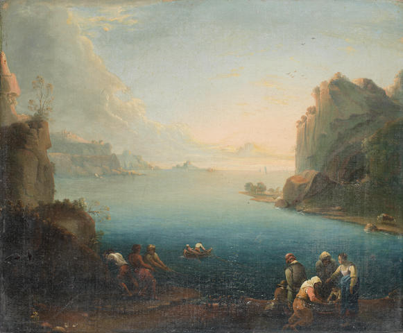 Follower of Claude Joseph Vernet (Avignon 1714-1789 Paris) Figures fishing on the shore, a seascape beyond