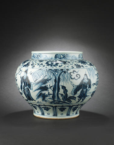 A blue and white jar, guan