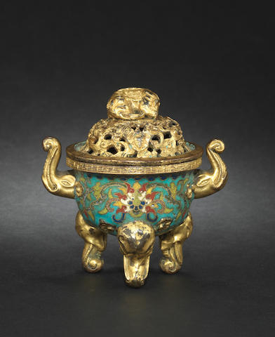 A rare cloisonné and gilt tripod incense burner and domed cover 18th century