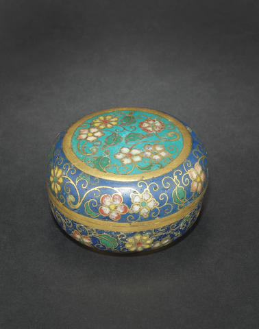 A cloisonné circular box and cover 18th century