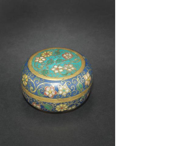 A cloisonné circular box and cover 18th century