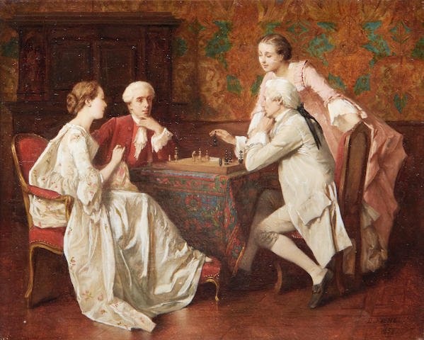Benjamin Eugène Fichel (French, 1826-1895) Game of chess
