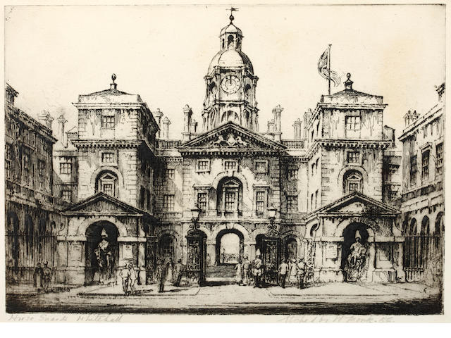 Rowland Langmaid (British, 1897-1956) St. Paul's from Blackfriars signed and inscribed in pencil drypoint etching 15 x 20cm (pl) and another etching of Horseguards, Whitehall by W. Monk. (2)