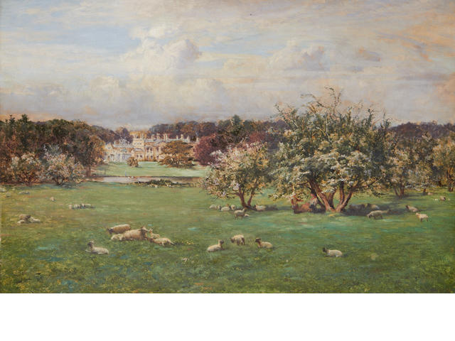 John Whipple (British, active 1873-1896) A pastoral scene with a large country house in the distance