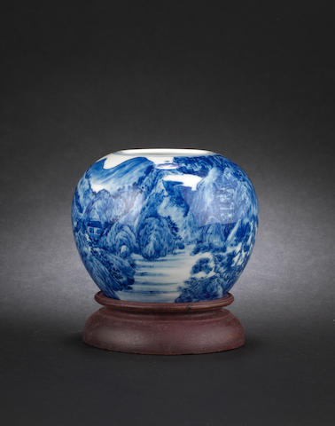 A blue and white jarlet Kangxi six-character mark