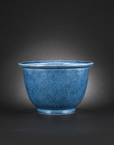 A powder-blue glazed jardinière Yongzheng incised six-character seal mark