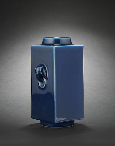 A blue-glazed square cylindrical vase, cong Guangxu six-character mark