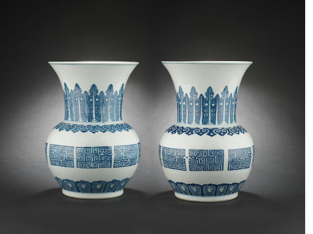 A pair of large, blue and white spittoons, zhadou 19th or 20th century
