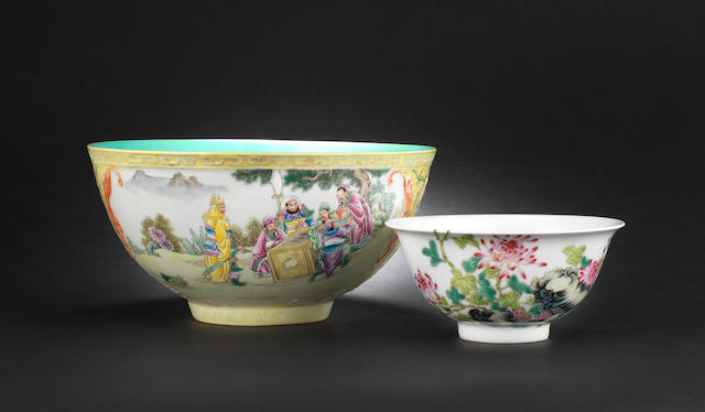 Two famille rose bowls Blue-enamelled Yongzheng four-character marks