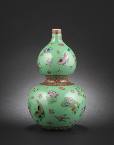 A famille rose, double gourd vase Qianlong six-character mark