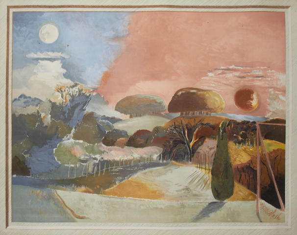 Paul Nash (British, 1889-1946) Landscape of the Verbal Equinox (Postan 24) Lithographic poster printed in colours, 1943, on white wove, from an unlimited edition, published by the National Gallery, London, 765 x 970mm (30 1/8 x 38 1/8in)(SH)(unframed)