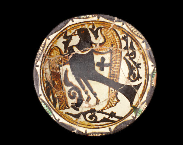An Abbasid pottery bowl with bird 9th-10th century